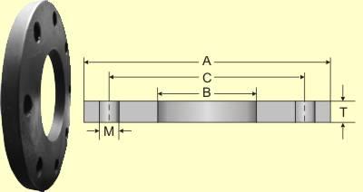 Flange Sobreposto Plano norma AWWA C207-07 Tabela 2 Classe D